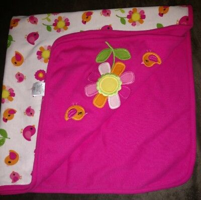 Gymboree Hot Pink White Cotton Baby Blanket Birds and Flowers TA