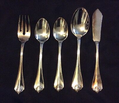 Lot 5 Pieces 1881 Rogers Oneida Ltd King James Silver-plate Flatware Spoon Fork