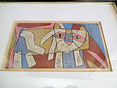 Vintage CAT Linocut Print by Al Robi Framed 17/30 No Reserve