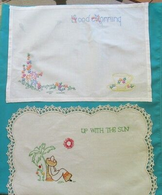 Two GOOD MORNING hand-embroidered table mats/tray mats Different designs & edges