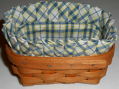 Business Card Basket Liner fits Longaberger, Blue/Yellow  (Basket not Included)