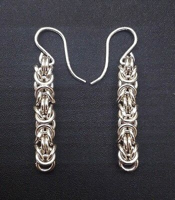 Goldbarons Sterling / Argentium Silver Byzantine Earrings Handmade Mirror Finish