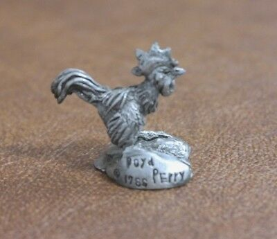 VINTAGE BOYD PERRY PEWTER FIGURINE - Rooster Chicken