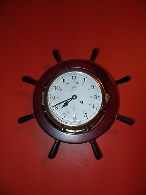 Vintage Schatz ROYAL MARINER 7 JEWEL Nautical 8 Day Shipswheel Wall Clock SUPERB