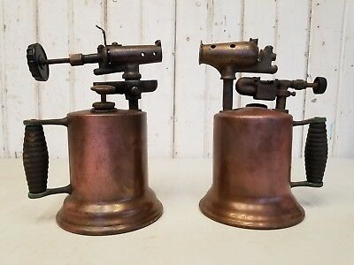 2 Antique Vintage Brass Blacksmith Blow Torches ~ Forge Metal Working Tool