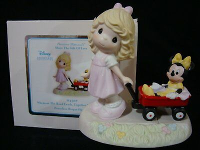 Precious Moments-Disney-Girl Pulling Minnie Mouse/Wagon-Wherever The Road Leads