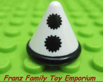 New LEGO Minifig Hat White Cone with Black Band/Pom Pom Buttons Mime/Clown Part