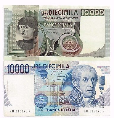 LOT OF TWO 1982-84 ITALY 10,000 LIRE NOTES - p106b,112d