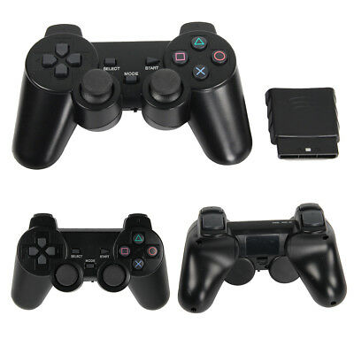 2PCS Black Dual Shock Wireless Controller Joypad Gamepad For Sony PS2 AU Ship