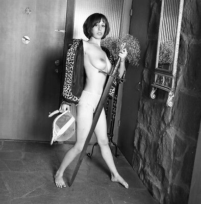 1960s Vogel Negative, busty nude pin-up girl Cathy Whitmore with sword, t992777