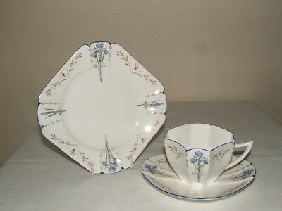 Shelley Art Deco Queen Anne Blue Iris Tea Trio Truly Stunning