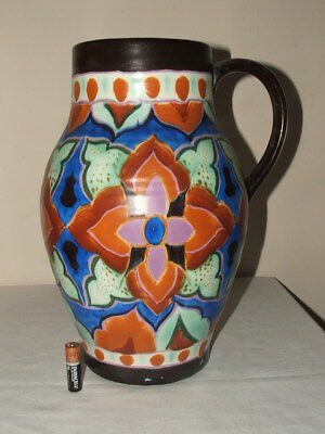 Crown Devon  Art Deco Handpainted Delph Abstract Large Lotus Jug  Truly Stunning