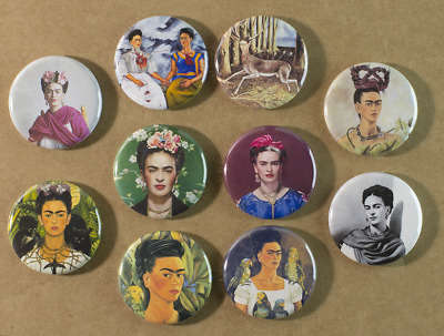 Frida Kahlo Buttons X 10 Pins 1.25 Inch  ~ Stocking Stuffers