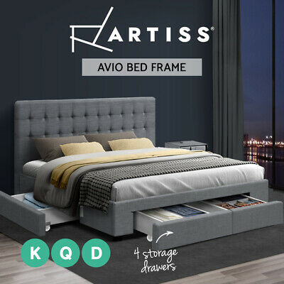 AVIO Bed Frame Double Queen King Size Headboard Fabric Wooden 4 Storage Drawers
