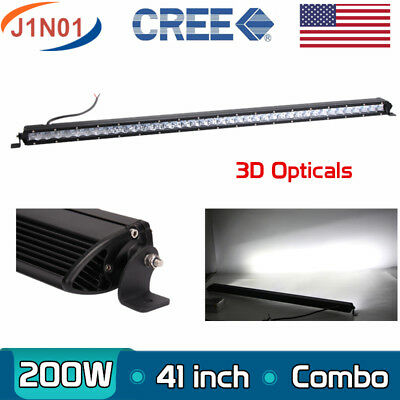 "SLIM 41"" 200W CREE Single Row Led Light Bar Combo Offroad Truck ATV 3D LEN 40/42"