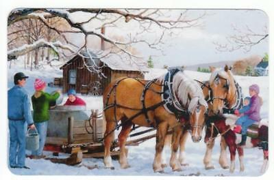 Playing cards swap cards HORSES working in snow