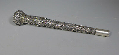 Fine Antique Chinese Silver Parasol Cane Handle Unmarked Decorated With Dragons