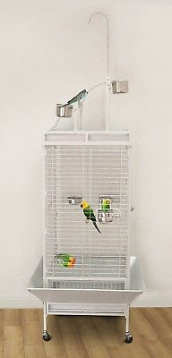 NEW Pawhut Parrot/Canary Large Aviary Bird Cage with Play Top - White