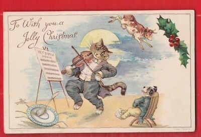 Comic, Cat Greetings Postcard by Ernest Nister.