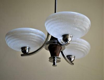 Very Stylish Art Deco Chrome & Stepped Mottled Glass Chandelier Ceiling Light