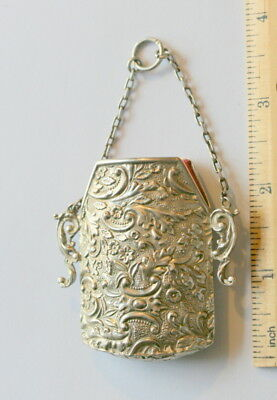 Silver Chatalaine Case Etui Dated 1890 By Lawrence Emanuel, Excellent Cond.