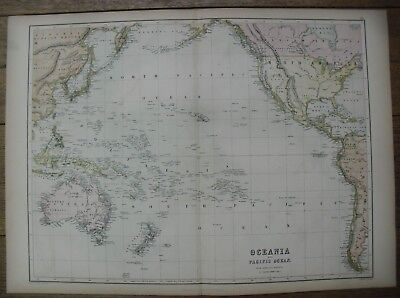 1867, Oceania and Pacific Ocean from Admiralty Surveys, Black's Atlas Map