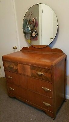 Vintage Art Deco Waterfall Style Dresser With Mirror