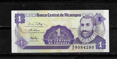 NICARAGUA #167a 1991 MINT-CRISP ONE CENTAVOS BANKNOTE NOTE CURRENCY PAPER MONEY