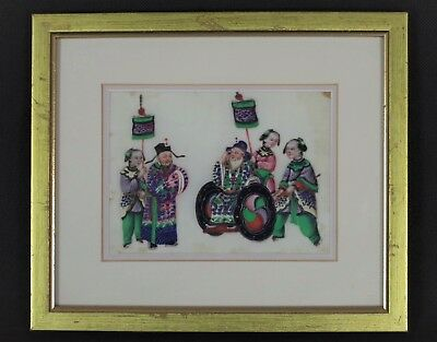 Fabulous Rare Antique Chinese Traditional Pith/Rice Paper Painting - Framed