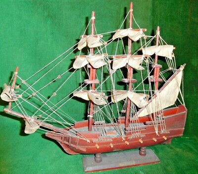 """Vintage 17"""" Clipper Ship Mounted Wooden Boat - Great Vintage Piece!"""