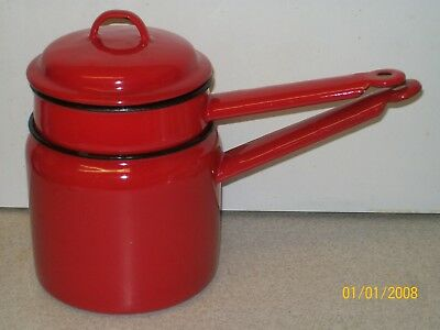 Vintage Red 'Made In Poland 14' Enamel Boiler - Steamer Kitchenalia EX Condition