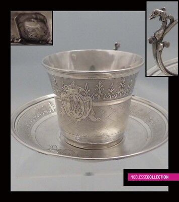 ANTIQUE 1880s FRENCH STERLING SILVER GUILLOCHE COFFEE CUP & SAUCER Napoleon III