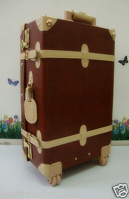 Vintage Style Brown+Beige L35*W19*H63CM PU Leather Suitcase/Luggage Trolley