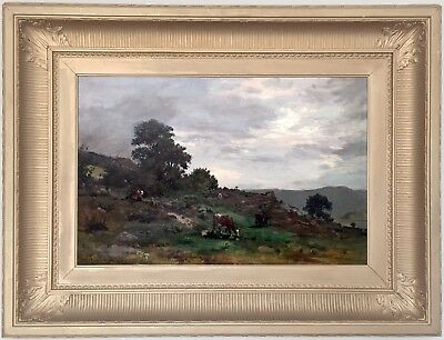 Cattle in a Landscape Antique Oil Painting by John Blake MacDonald (1829–1901)