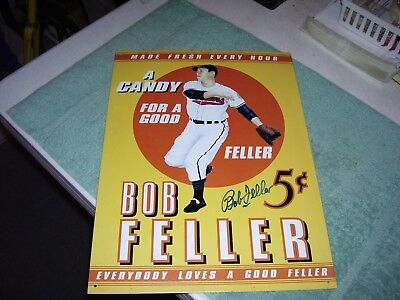 """BOB FELLER CANDY BASEBALL ADVERTISING SIGN AUTOGRAPHED, 12 by 16"""" SIGNED"""