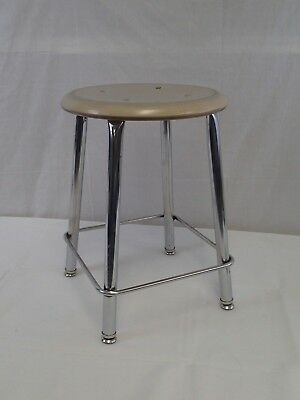 Vintage Chrome Metal School Art Room Shop Stool Seat Mid Century Industrial