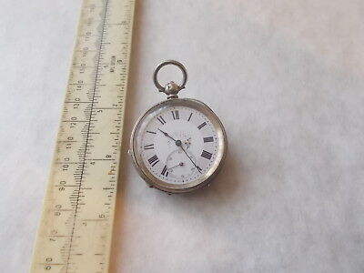 Pretty Small Silver Pocket Watch.with Flower And Lilac Dial.swiss Made H.samuel
