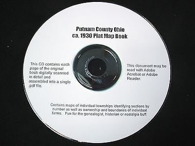 CD ~ 1930's Putnam County Ohio Plat Map Book