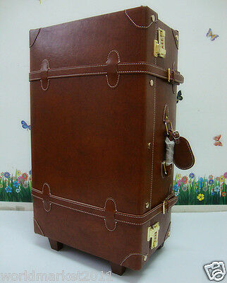 %H Vintage Style Brown L37*W23*H70CM PU Leather Travel Suitcase/Luggage Trolley
