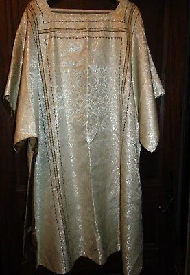 Antique French Chasuble  Metallic Embroidered Gold decor work Religious Vestment