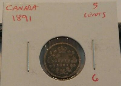 1891 Canada 5 Cent Silver Observe #5 G