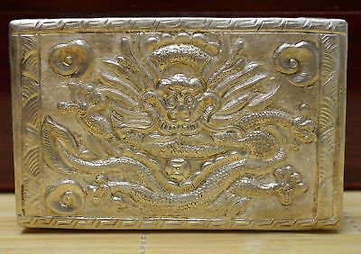 128 Gram Purity 999 Fine Silver Solid Hand Made Relievo Dragon Flower Card Case