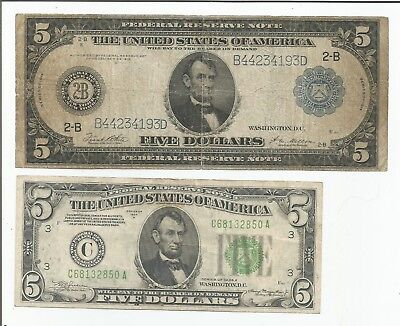 1914 Large - 1953 $5 Federal Reserve Notes