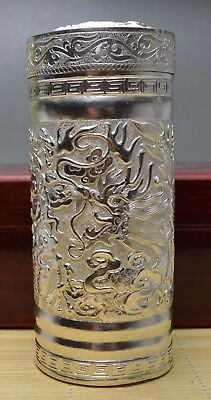 338g Purity 999 Fine Silver Solid Hand Made Relievo Dragon Tea Caddy Box Signed