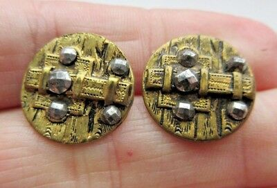 Wonderful Lot of 2 Matching Antique~ Vtg Victorian Metal BUTTONS Cut Steels (S1)