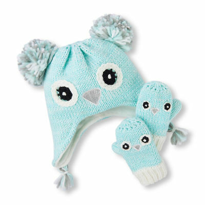 The Childrens Place Sparkle Owl Baby Girl Turquoise Hat Mittens Set Size 2T-3T