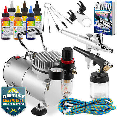 Cake Airbrush Decorating Kit - 2 Airbrushes, Compressor, and 6 Chefmaster Colors