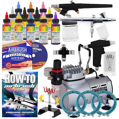 Cake Airbrush Decorating Kit - 3 Airbrushes, Stand, Compressor, and 12 Colors