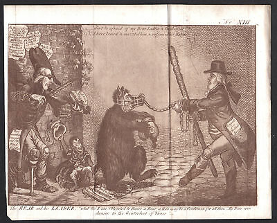 1800 Gillray bear dance leader Karikatur caricature Aquatinta mezzotint Bär Tanz