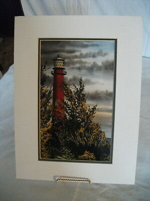 Watercolor Print Signed/Numbered Brown County Artist James Oblack, lighthouse